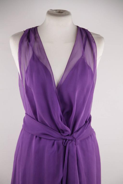 CHANEL 2003 Purple Silk Chiffon ASYMMETRICAL Hem LONG DRESS w/ Stole SIZE 40 FR 6