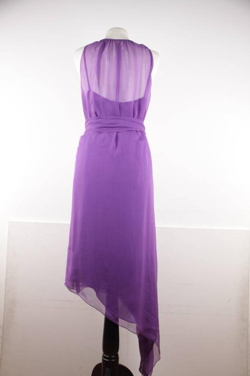 CHANEL 2003 Purple Silk Chiffon ASYMMETRICAL Hem LONG DRESS w/ Stole SIZE 40 FR 8