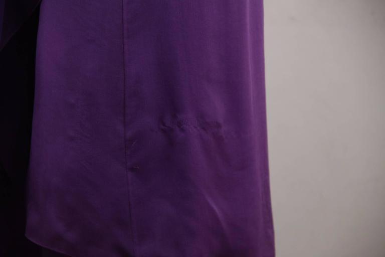 CHANEL 2003 Purple Silk Chiffon ASYMMETRICAL Hem LONG DRESS w/ Stole SIZE 40 FR 9