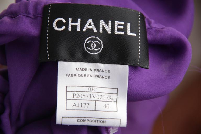 CHANEL 2003 Purple Silk Chiffon ASYMMETRICAL Hem LONG DRESS w/ Stole SIZE 40 FR 10