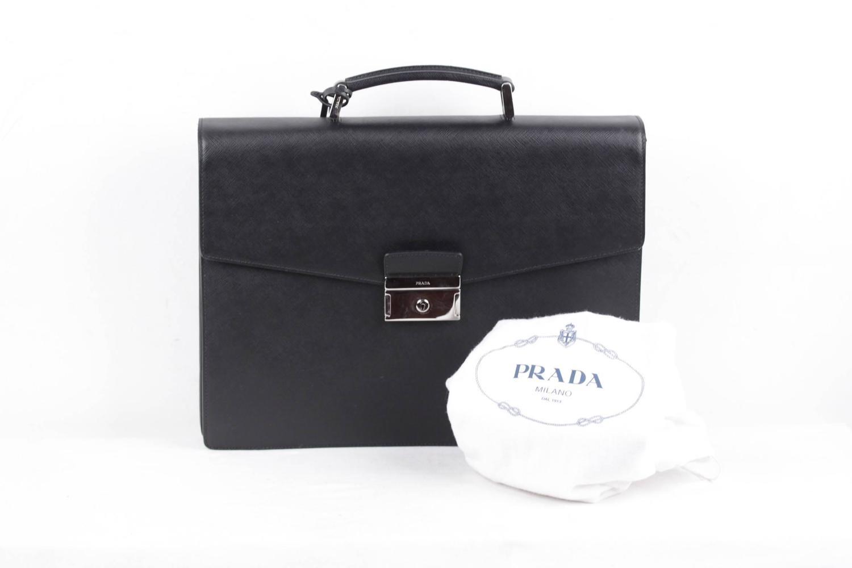 buy prada handbag online - PRADA Italian Black SAFFIANO Leather BRIEFCASE Handbag WORK BAG ...