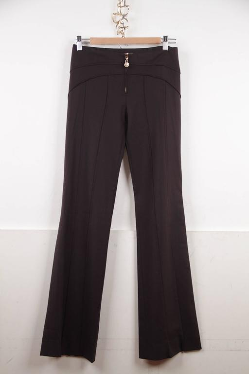 VERSACE Brown Stretch Wool TROUSERS Pants MEDUSA 2005 Fall Collection Sz 40 IT 2