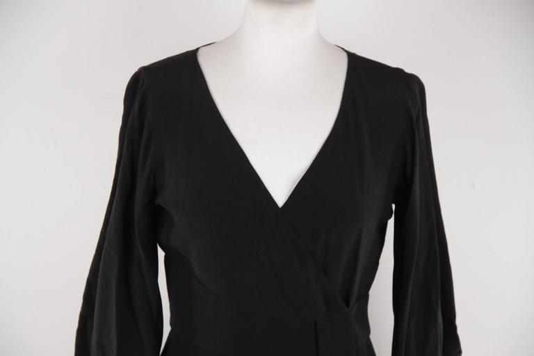 VERSACE Italian Black Pure Silk WRAP DRESS w/ Blouson Sleeves Sz 40 IT 2