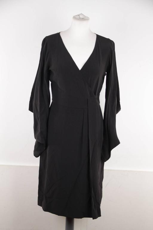 VERSACE Italian Black Pure Silk WRAP DRESS w/ Blouson Sleeves Sz 40 IT 3
