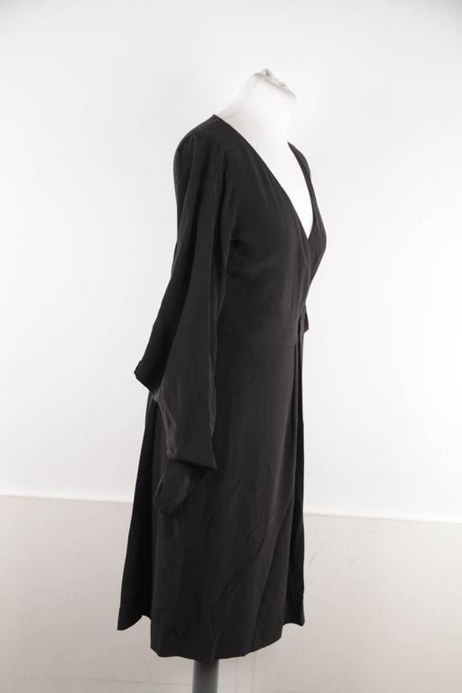 VERSACE Italian Black Pure Silk WRAP DRESS w/ Blouson Sleeves Sz 40 IT 5