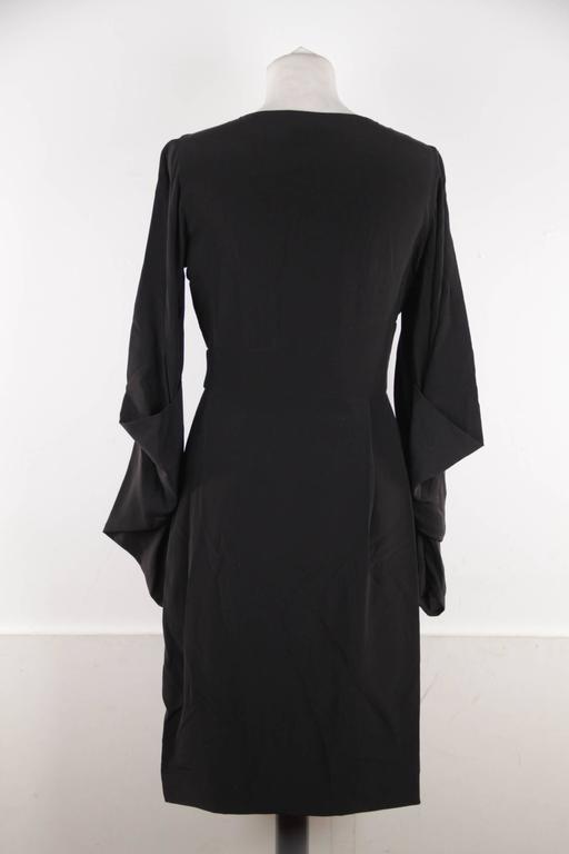 VERSACE Italian Black Pure Silk WRAP DRESS w/ Blouson Sleeves Sz 40 IT 4