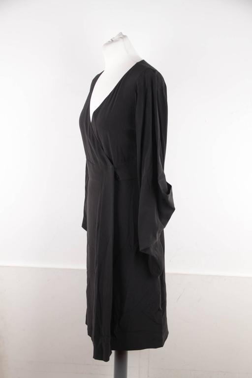 VERSACE Italian Black Pure Silk WRAP DRESS w/ Blouson Sleeves Sz 40 IT 6