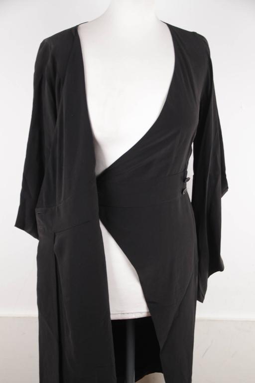VERSACE Italian Black Pure Silk WRAP DRESS w/ Blouson Sleeves Sz 40 IT 7