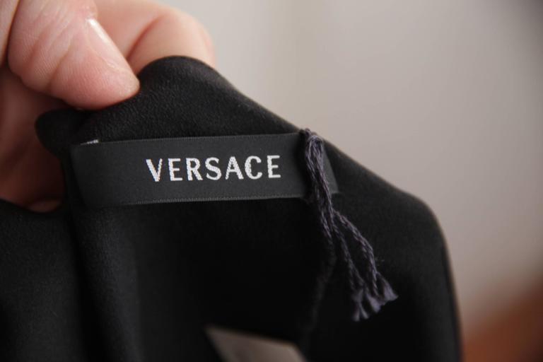 VERSACE Italian Black Pure Silk WRAP DRESS w/ Blouson Sleeves Sz 40 IT 8