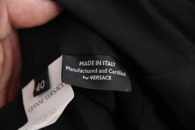 VERSACE Italian Black Pure Silk WRAP DRESS w/ Blouson Sleeves Sz 40 IT 9