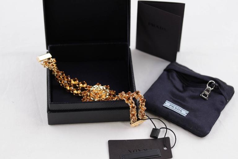 Women's PRADA Italian Gold Metal RHINESTONES Rose Flower BRACELET 1AJJ29 w/ BOX For Sale