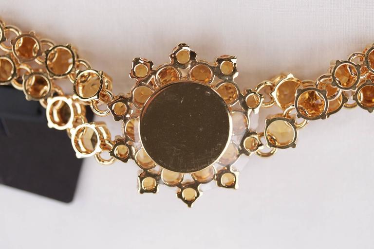 PRADA Italian Gold Metal RHINESTONES Rose Flower BRACELET 1AJJ29 w/ BOX For Sale 2