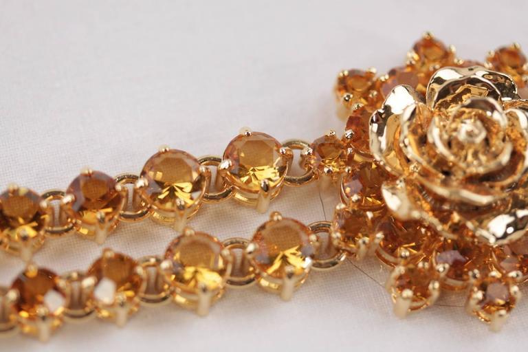 PRADA Italian Gold Metal RHINESTONES Rose Flower BRACELET 1AJJ29 w/ BOX For Sale 1