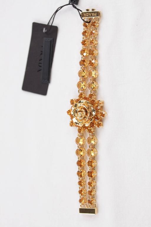 PRADA Italian Gold Metal RHINESTONES Rose Flower BRACELET 1AJJ29 w/ BOX For Sale 3