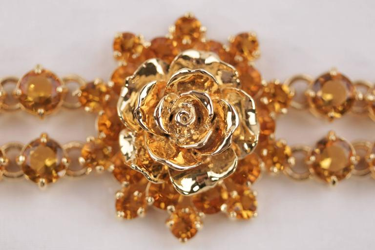 PRADA Italian Gold Metal RHINESTONES Rose Flower BRACELET 1AJJ29 w/ BOX In As new Condition For Sale In Rome, IT