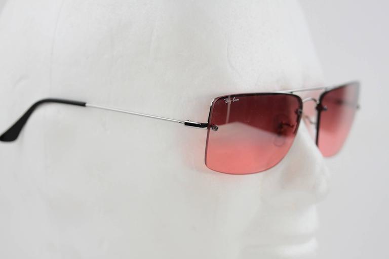 9b2dc5feddd RAY BAN Sunglasses RB3158 003 7E 59 16 Rimless Silver Pink lens EYEWEAR