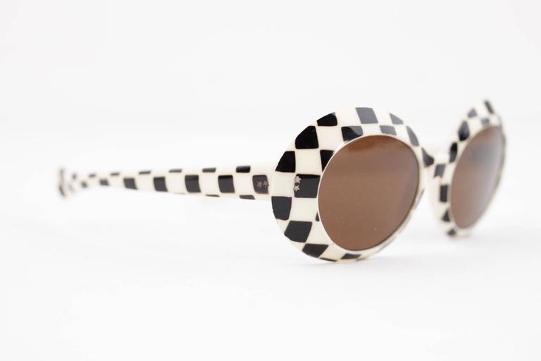 SAMCO Italian VINTAGE Black & White Checkerboard SUNGLASSES Shades RARE 60s 2