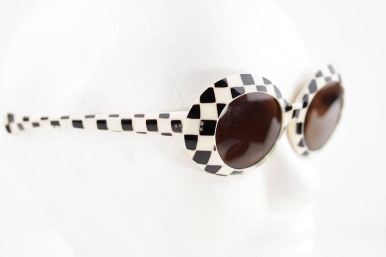 SAMCO Italian VINTAGE Black & White Checkerboard SUNGLASSES Shades RARE 60s 3