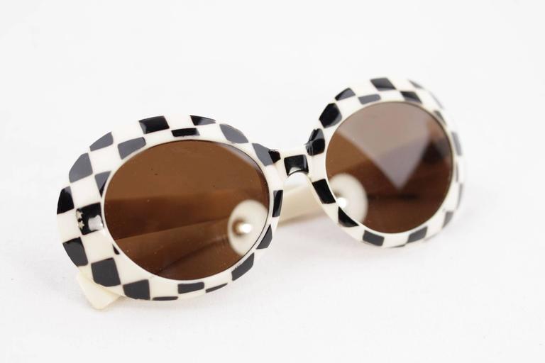 SAMCO Italian VINTAGE Black & White Checkerboard SUNGLASSES Shades RARE 60s 6
