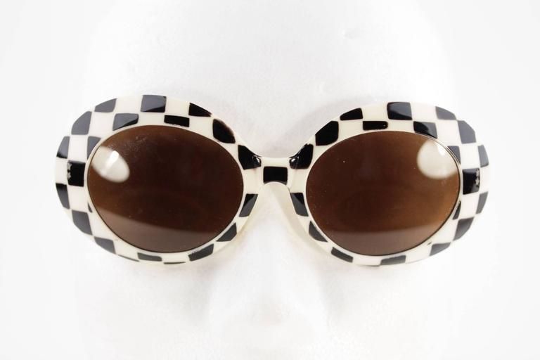 SAMCO Italian VINTAGE Black & White Checkerboard SUNGLASSES Shades RARE 60s 7