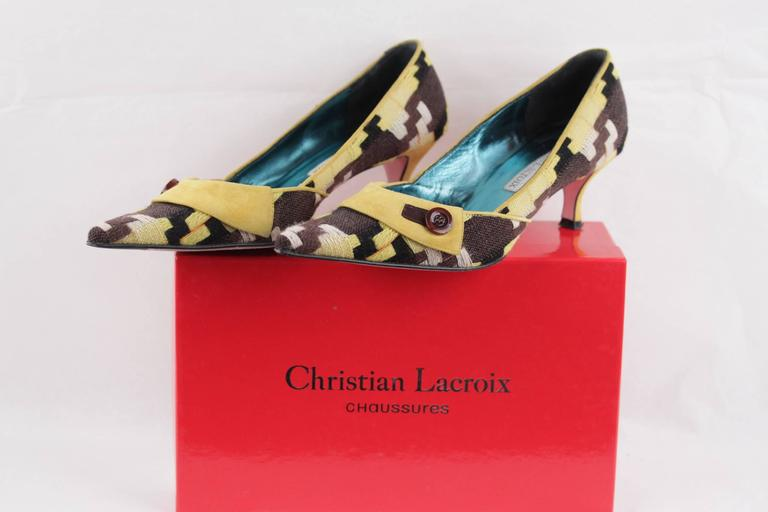 CHRISTIAN LACROIX Yellow & Brown CLASSIC PUMPS Heels SHOES Size 39 In Good Condition For Sale In Rome, IT
