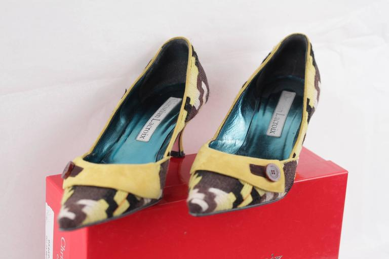Women's CHRISTIAN LACROIX Yellow & Brown CLASSIC PUMPS Heels SHOES Size 39 For Sale