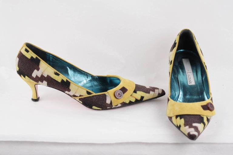CHRISTIAN LACROIX Yellow & Brown CLASSIC PUMPS Heels SHOES Size 39 For Sale 3