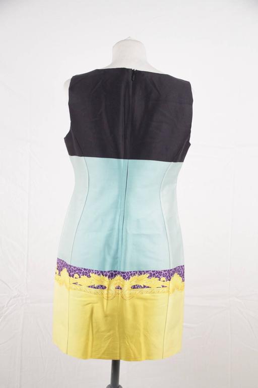 Versace Multicolor Print Cotton and Silk Sleeveless Sheath Dress Size 42 4