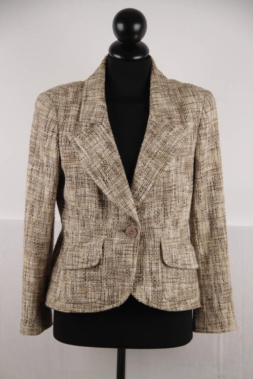 CHANEL Green Cotton Blend BLAZER Boucle JACKET Size 36 For ...