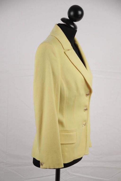 VERSACE Bright Yellow Cashmere Blend BLAZER Jacket SIZE 40 2