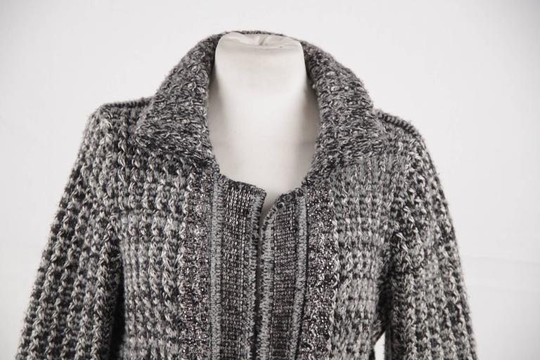 CHANEL Gray Cashmere Blend CARDIGAN Knit JACKET w/ Rhinestones SIZE 38 at 1st...