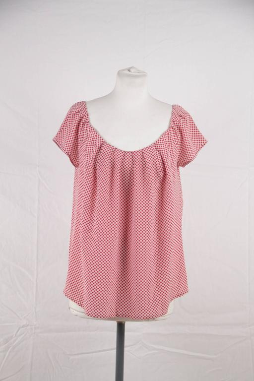 CHRISTIAN DIOR Silk Polka Dot BLOUSE Short Sleeve TOP Size MEDIUM 2