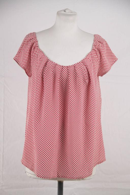 CHRISTIAN DIOR Silk Polka Dot BLOUSE Short Sleeve TOP Size MEDIUM 3