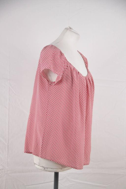 CHRISTIAN DIOR Silk Polka Dot BLOUSE Short Sleeve TOP Size MEDIUM 4
