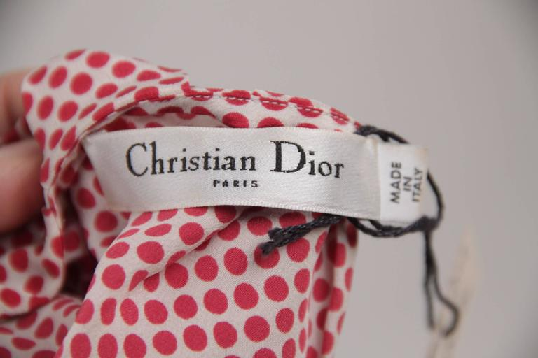 CHRISTIAN DIOR Silk Polka Dot BLOUSE Short Sleeve TOP Size MEDIUM 6