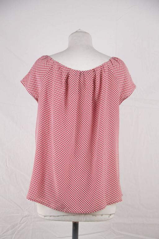 CHRISTIAN DIOR Silk Polka Dot BLOUSE Short Sleeve TOP Size MEDIUM 5