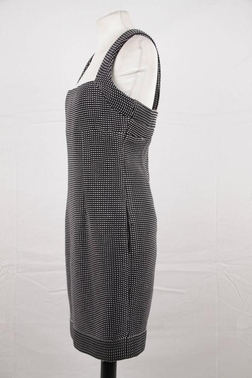 CHANEL Black & White Cotton Blend SHEATH DRESS Sleeveless SIZE 38 4