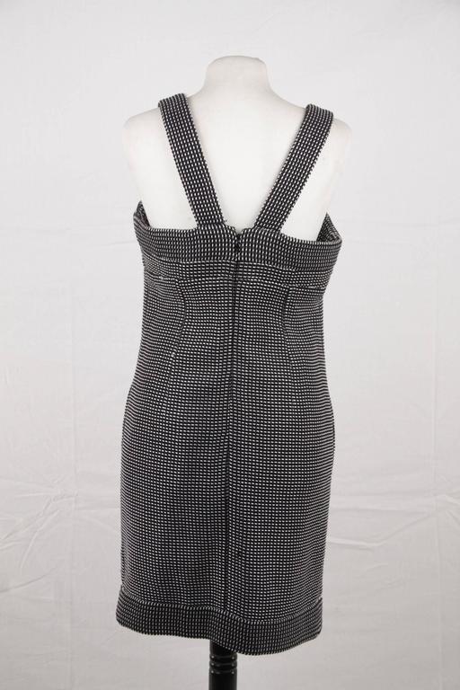 CHANEL Black & White Cotton Blend SHEATH DRESS Sleeveless SIZE 38 8