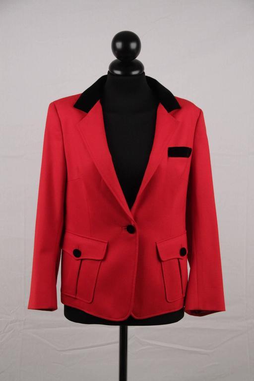 BALENCIAGA Red Wool BLAZER Jacket EQUESTRIAN Style SIZE 38 4