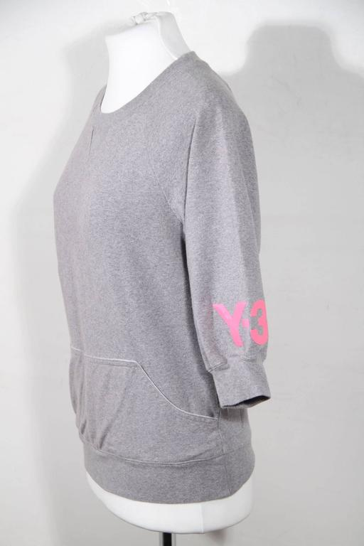 Y-3 YOHJI YAMAMOTO Gray Cotton CROPPED SLEEVE SWEATSHIRT Sz XS In Good Condition For Sale In Rome, IT