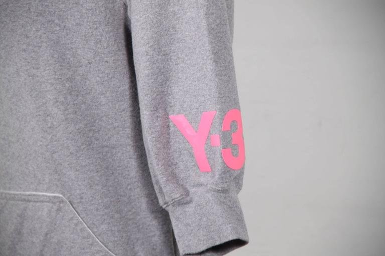 Women's Y-3 YOHJI YAMAMOTO Gray Cotton CROPPED SLEEVE SWEATSHIRT Sz XS For Sale
