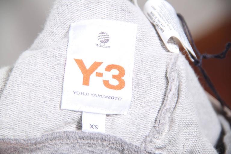 Y-3 YOHJI YAMAMOTO Gray Cotton CROPPED SLEEVE SWEATSHIRT Sz XS For Sale 2