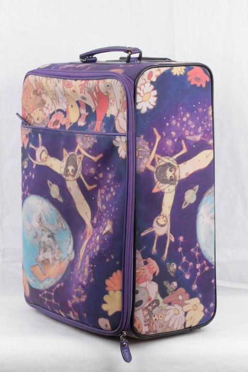 issey miyake vintage purple printed rolling luggage travel bag suitcase at 1stdibs