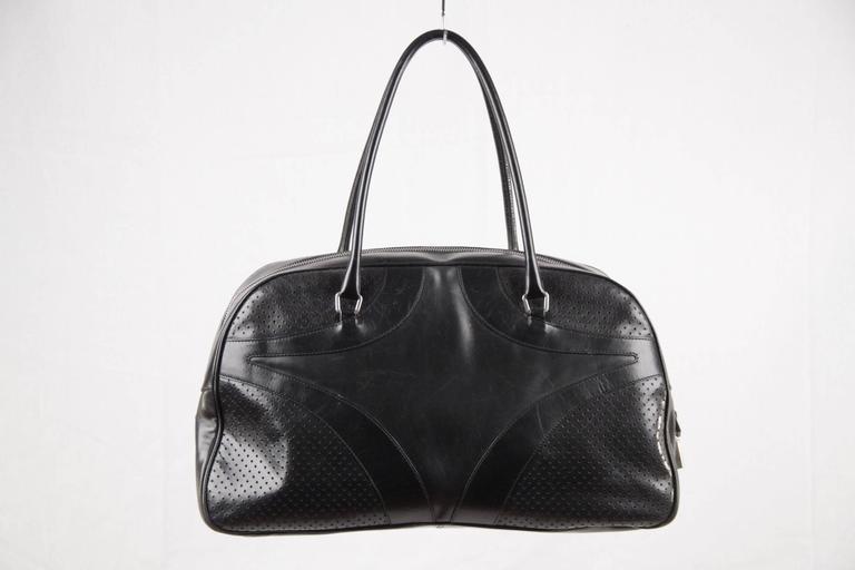 Prada Black Leather Bowling Bag Satchel Bowler Gm Purse Handbag In Good Condition For