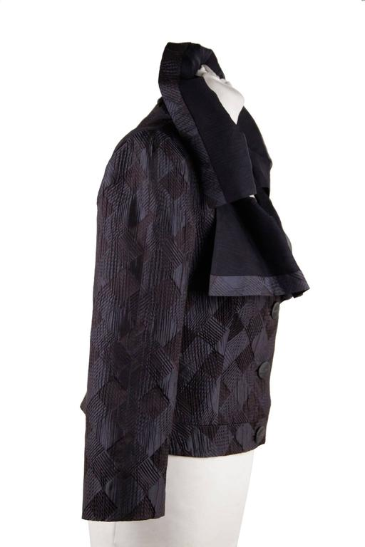 GIORGIO ARMANI BLACK LABEL Blue Black Silk Blend JACKET Ruffle Collar SIZE 40 2