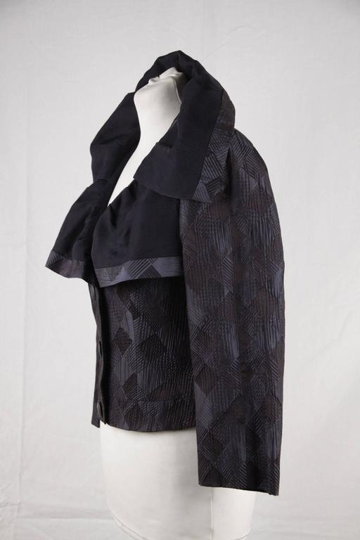 GIORGIO ARMANI BLACK LABEL Blue Black Silk Blend JACKET Ruffle Collar SIZE 40 5