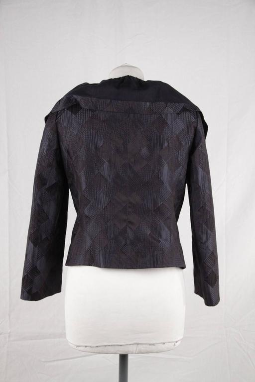 GIORGIO ARMANI BLACK LABEL Blue Black Silk Blend JACKET Ruffle Collar SIZE 40 6