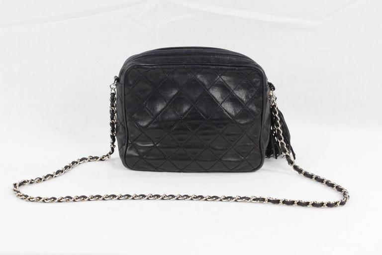 5789e0b678b0 Women's CHANEL Vintage Black QUILTED Leather CAMERA BAG Fold Detail  CROSSBODY Tassel For Sale