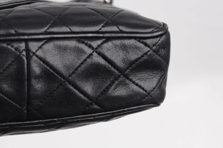 b1d9d719ecc2 CHANEL Vintage Black QUILTED Leather CAMERA BAG Fold Detail CROSSBODY Tassel  For Sale 2