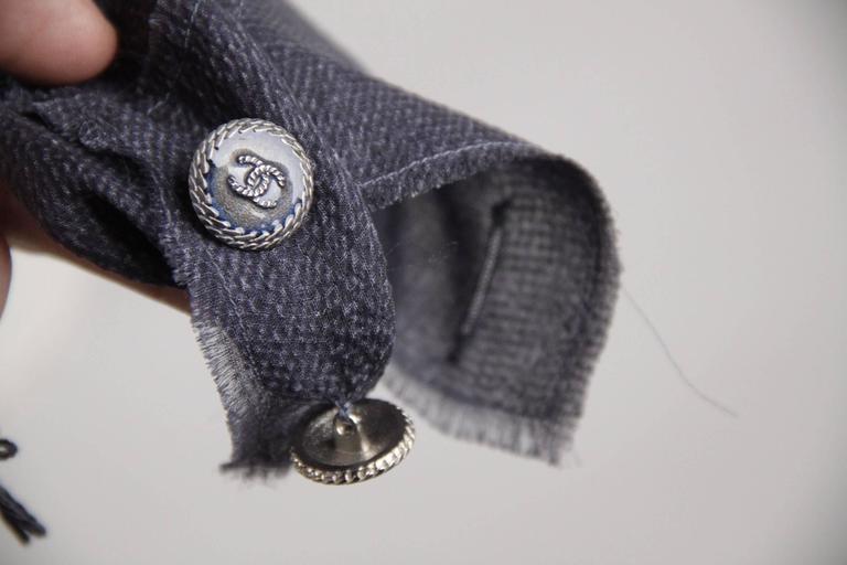 Gray CHANEL Blue Chiffon Silky Fabric LONG SLEEVE SHIRT Blouse w/ RUFFLES For Sale
